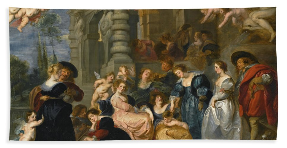 Follower Of Peter Paul Rubens Beach Towel featuring the painting The Garden Of Love by Follower of Peter Paul Rubens
