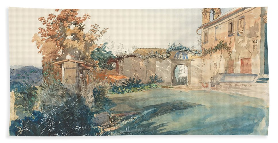John Ruskin Beach Towel featuring the painting The Garden Of San Miniato Near Florence by John Ruskin