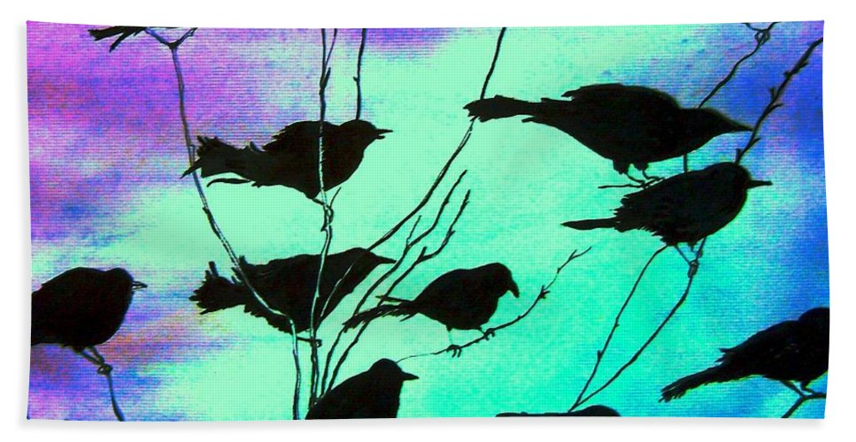 Sunset Beach Towel featuring the painting The Gathering by Marsha Hale