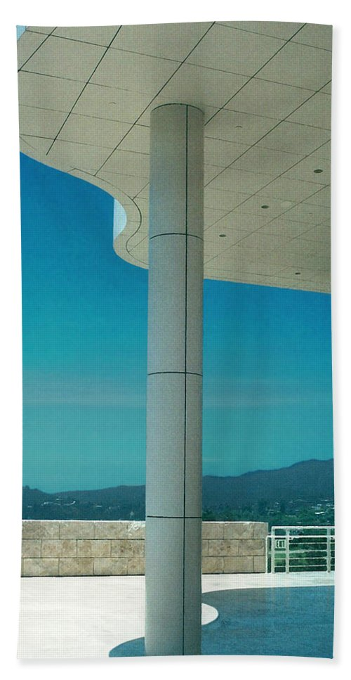 Architecture Beach Sheet featuring the photograph The Getty Panel 2 Of Triptyck by Steve Karol
