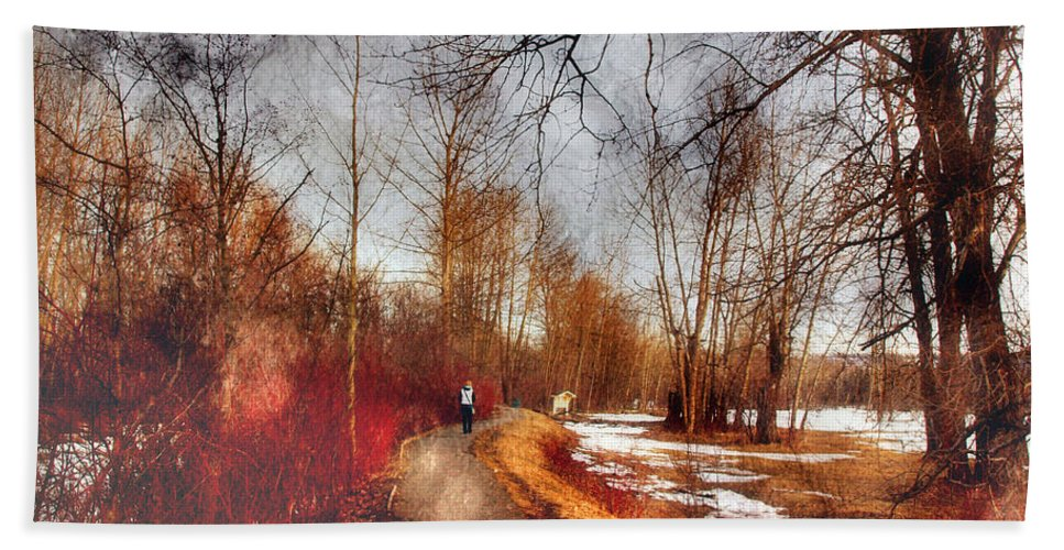 Path Beach Towel featuring the photograph The Girl On The Path by Tara Turner