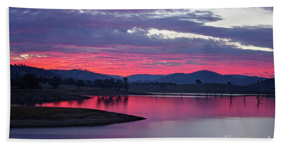 Sunset Beach Towel featuring the photograph The Gloaming by Linda Lees