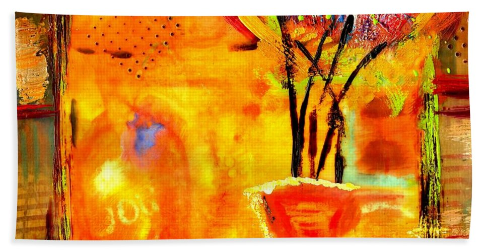 Wood Beach Towel featuring the mixed media The Glow Of Joy by Angela L Walker