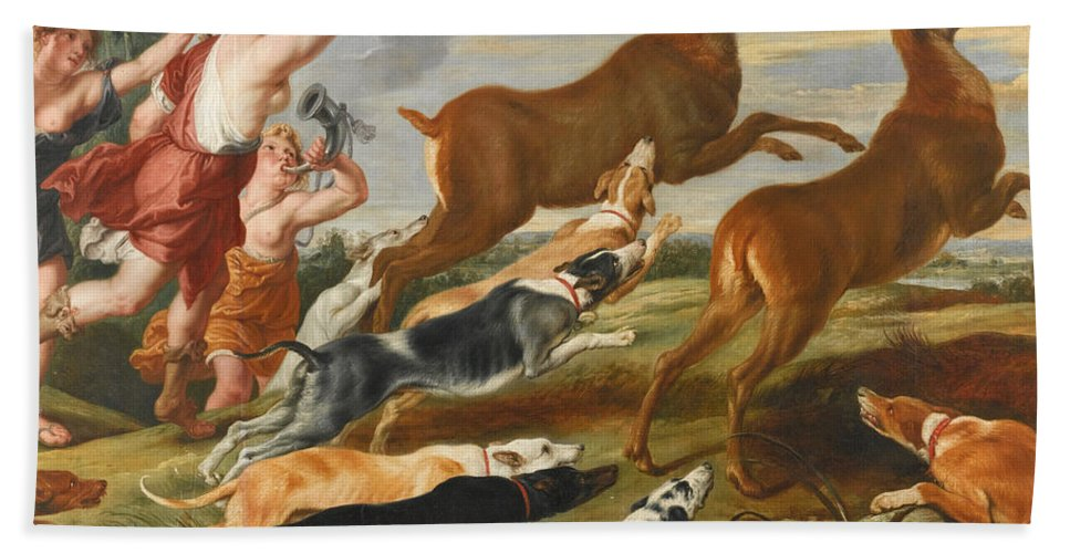 Follower Of Peter Paul Rubens Beach Towel featuring the painting The Goddess Diana And Her Nymphs Hunting Deer by Follower of Peter Paul Rubens