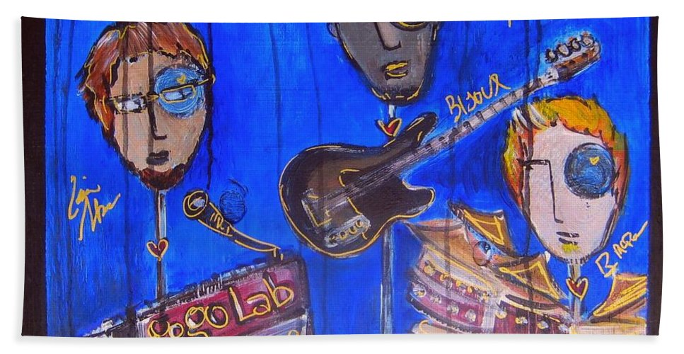 Gogolab Beach Towel featuring the painting The Gogolab Painted Live by Laurie Maves ART