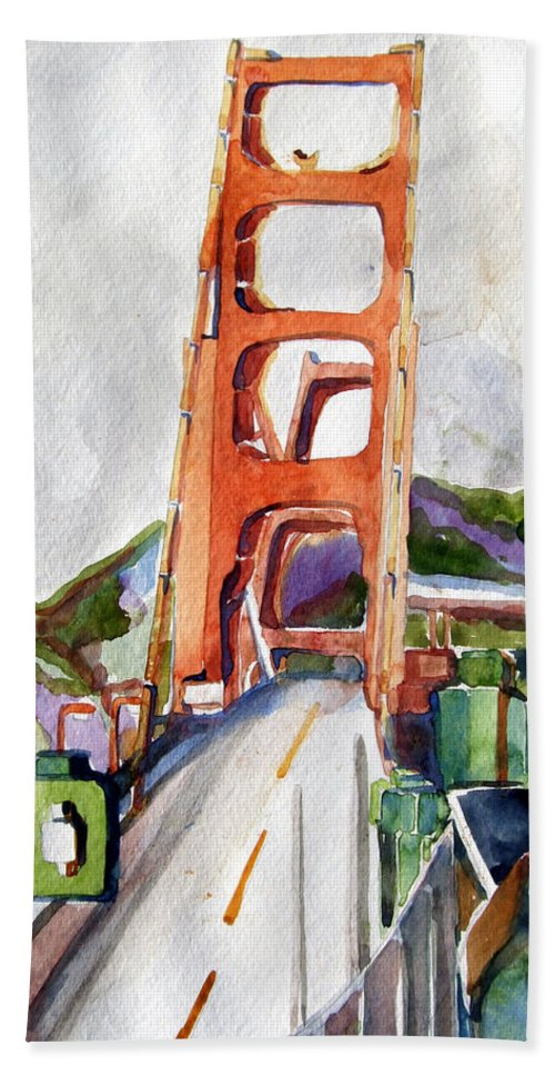 Mindy Newman Beach Towel featuring the painting The Golden Gate Bridge San Francisco by Mindy Newman
