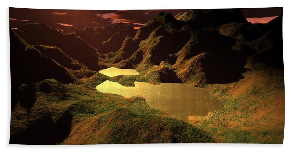 Digital Art Beach Sheet featuring the digital art The Golden Lake by Gaspar Avila