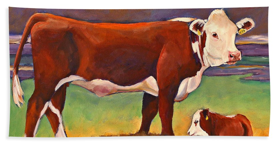 Folk Art Beach Towel featuring the painting The Good Mom Folk Art Hereford Cow And Calf by Toni Grote