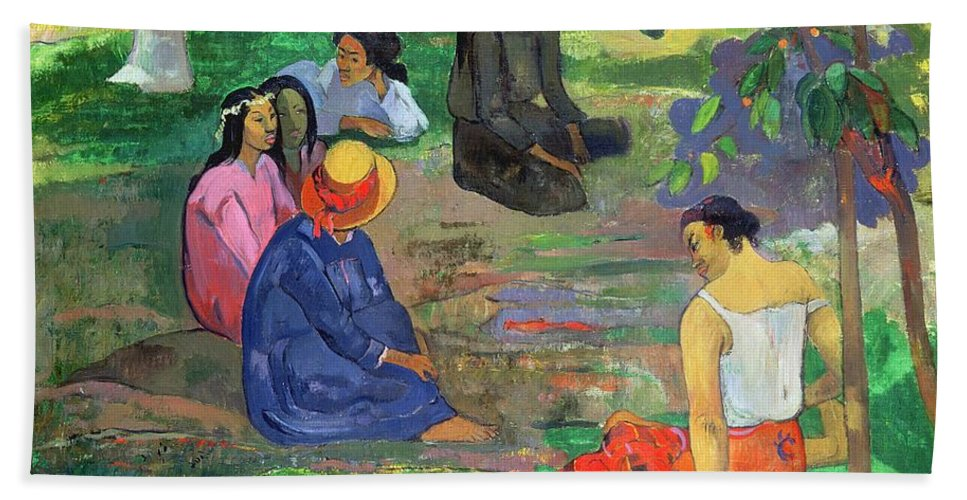 Hat; Post-impressionist; Tropical; Tahitian; Women; Sitting; Talking; Les Potins Beach Towel featuring the painting The Gossipers by Paul Gauguin