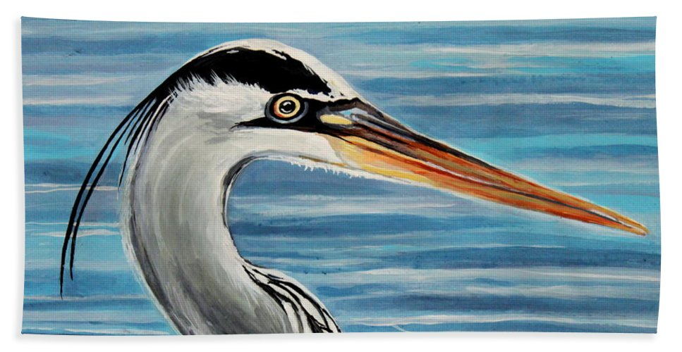Bird Beach Towel featuring the painting The Great Blue Heron by Elizabeth Robinette Tyndall