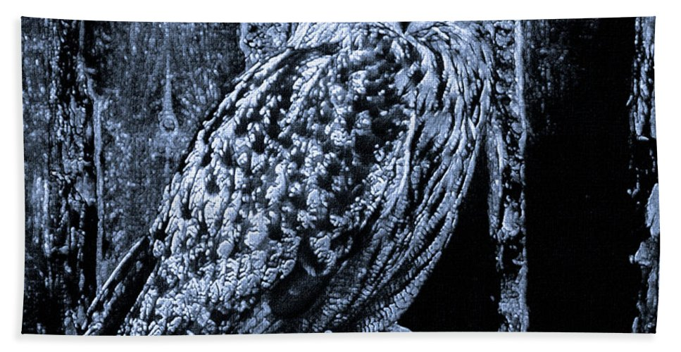 Black And White Beach Towel featuring the mixed media Majestic Great Horned Owl Bw by Mona Stut
