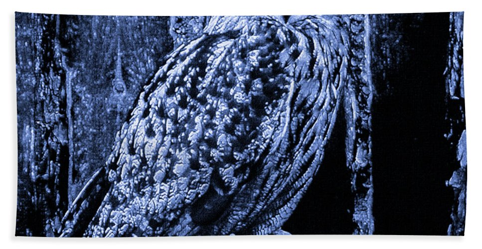 Animal Beach Towel featuring the mixed media Majestic Great Horned Owl Blue Indigo by Mona Stut