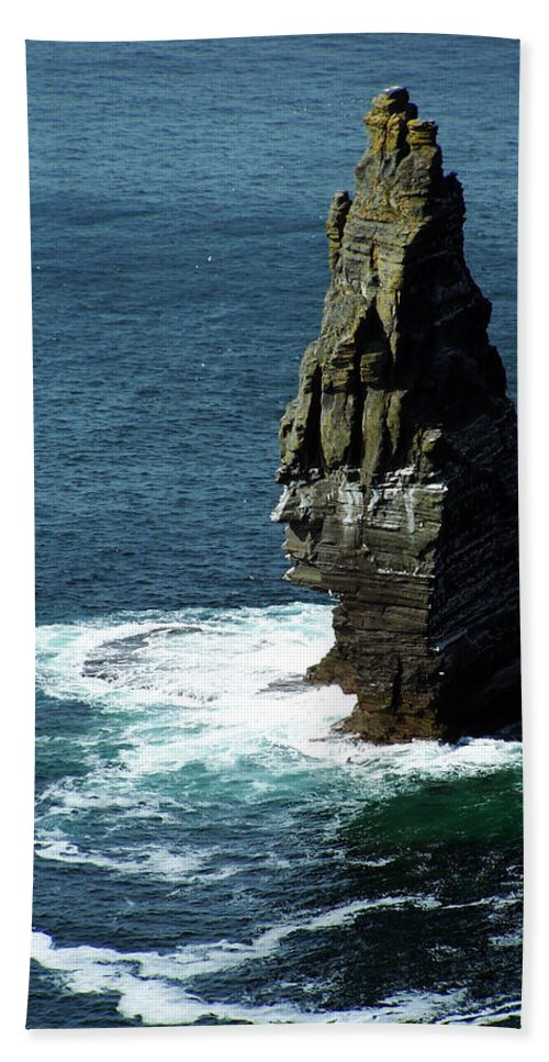 Irish Beach Towel featuring the photograph The Great Sea Stack Brananmore Cliffs Of Moher Ireland by Teresa Mucha