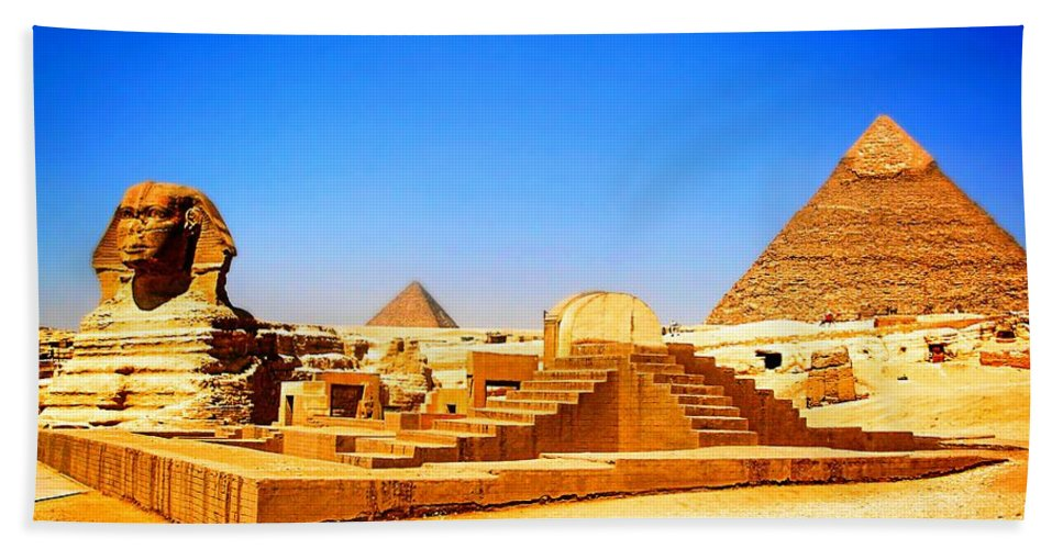 The Great Sphinx Of Giza Beach Towel featuring the mixed media The Great Sphinx Of Giza by Otis Porritt