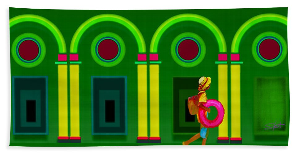 Classical Beach Towel featuring the digital art The Green Door by Charles Stuart
