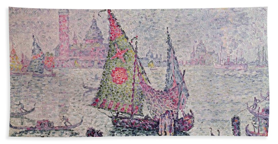 The Green Sail Beach Towel featuring the painting The Green Sail by Paul Signac