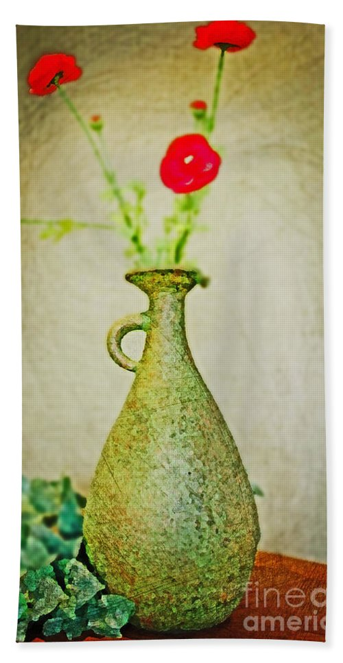 Vase Beach Towel featuring the digital art The Green Vase by Don Baker