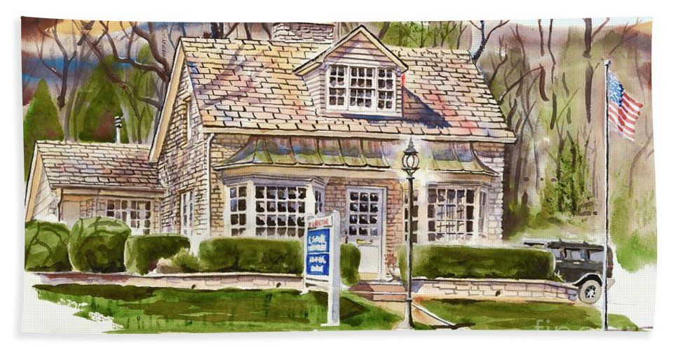 The Greystone Inn In Brigadoon Beach Towel featuring the painting The Greystone Inn in Brigadoon by Kip DeVore