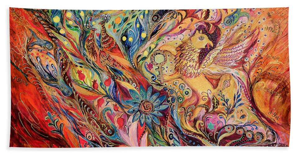 Original Beach Towel featuring the painting The Griffin's Key by Elena Kotliarker