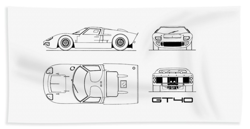 Ford Gt Beach Towel Featuring The Photograph The Gt Blueprint White By Mark Rogan