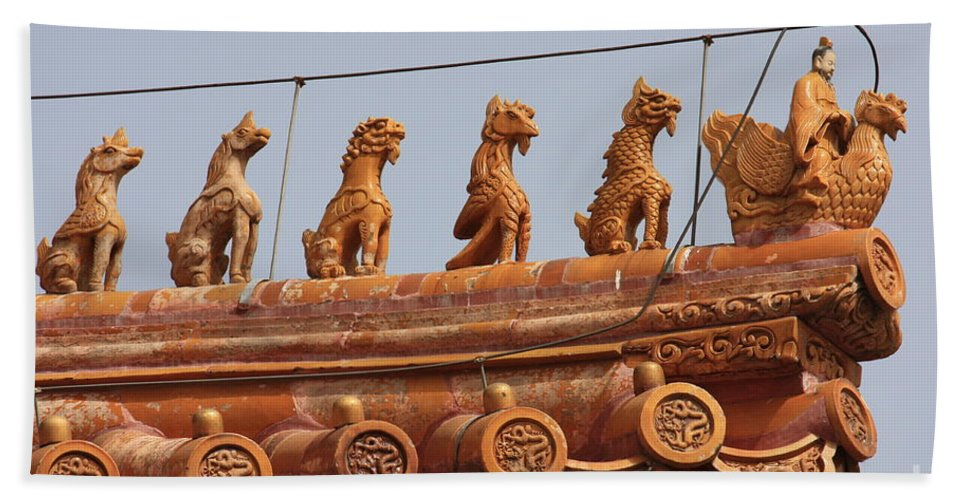 Guard Beach Towel featuring the photograph The Guardians Of The Forbidden City by Carol Groenen