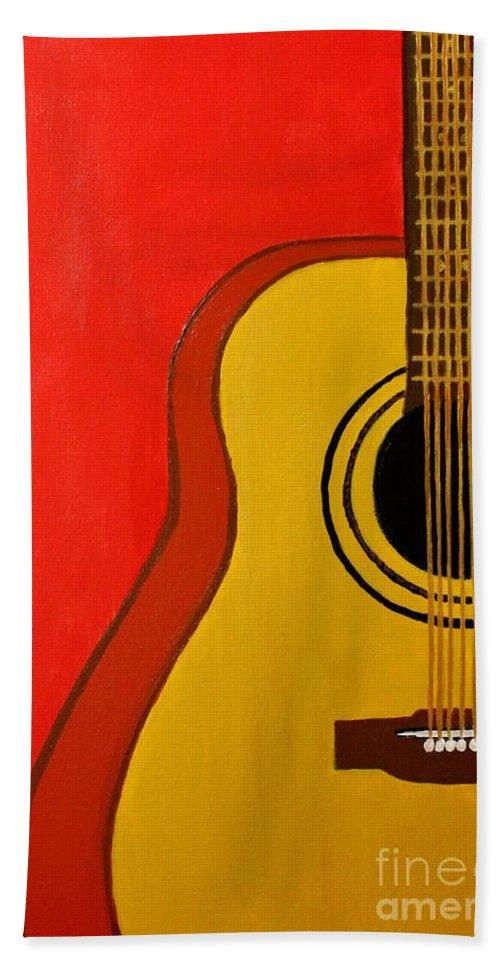 Guitar Beach Towel featuring the painting The Guitar by Mesa Teresita