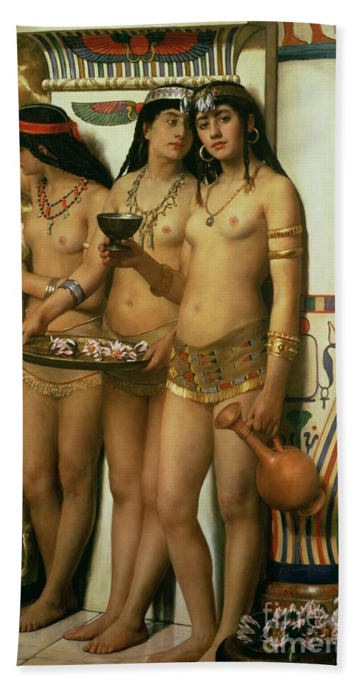 Royalty Beach Towel featuring the painting The Handmaidens Of Pharaoh by John Collier
