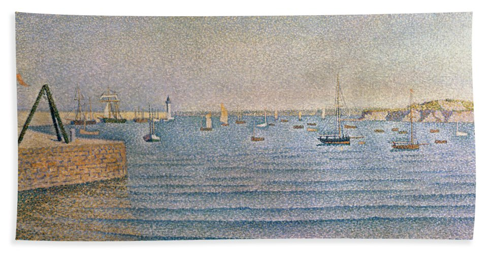 The Harbour At Portrieux Beach Towel featuring the painting The Harbour At Portrieux by Paul Signac