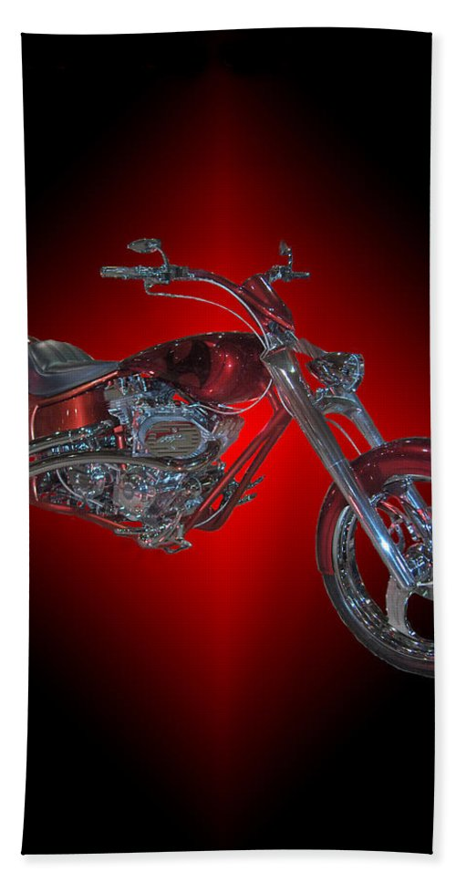 Harley Davidson Motorbike Chopper Bike Red Chrome Beach Towel featuring the photograph The Harley by Andrea Lawrence
