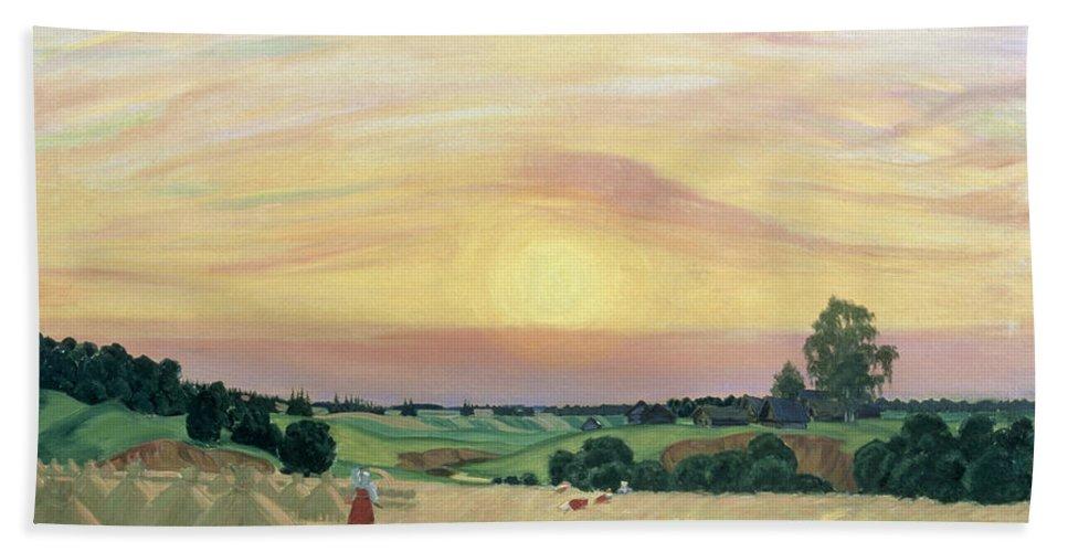 The Harvest Beach Towel featuring the painting The Harvest by Boris Mikhailovich Kustodiev
