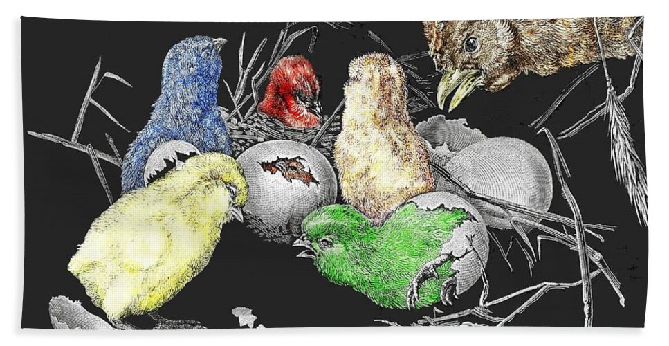 Chick Beach Towel featuring the digital art The Hatching Of Chicks. by Neko92vl