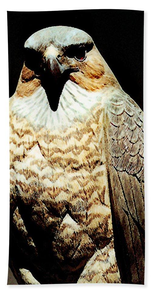 Birds Beach Towel featuring the painting The Hawk by Paul Sachtleben
