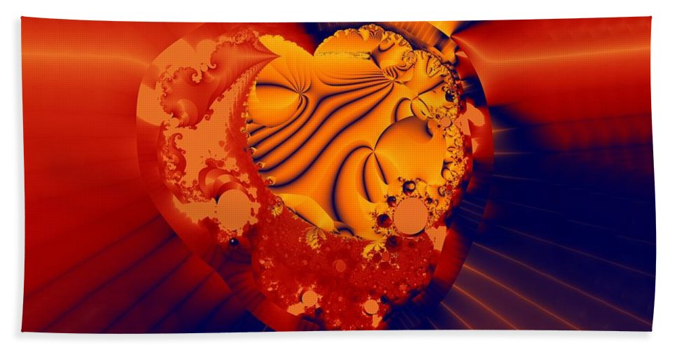 Fractal Art Beach Towel featuring the digital art The Heart Of The Matter by Ron Bissett