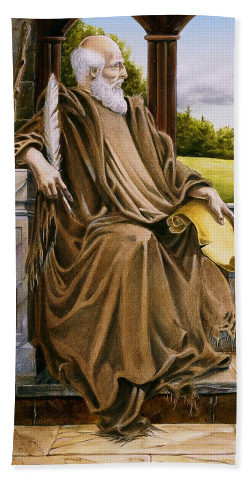 Wise Man Beach Towel featuring the painting The Hermit Nascien by Melissa A Benson