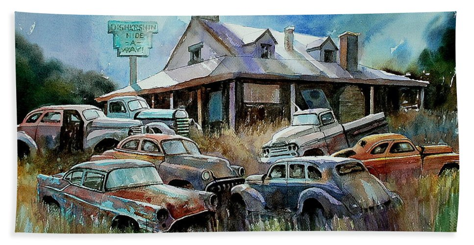 Cars House Rust Beach Towel featuring the painting The Hideaway Of Miss Dish Kreshin by Ron Morrison