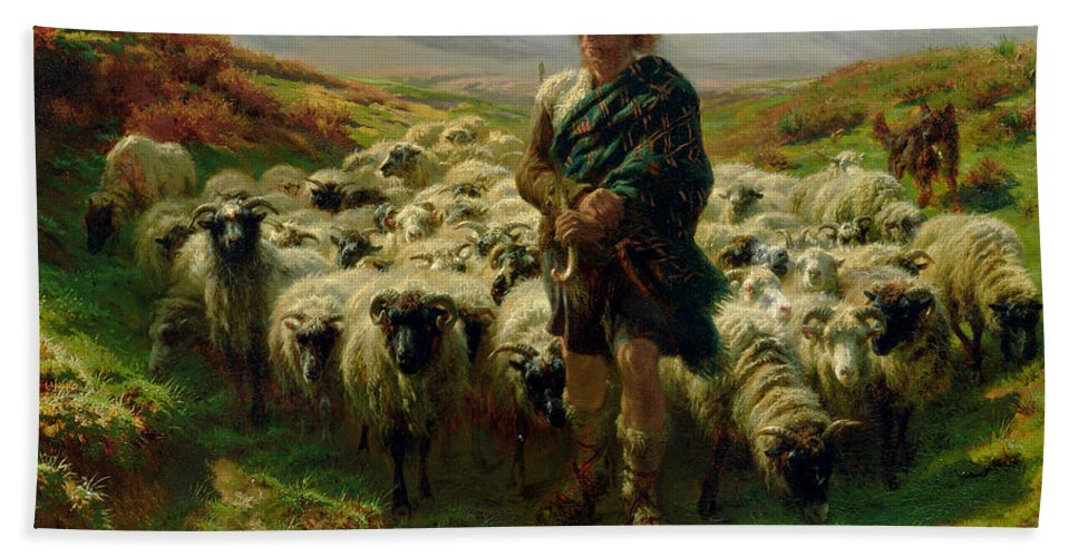 The Beach Towel featuring the painting The Highland Shepherd by Rosa Bonheur