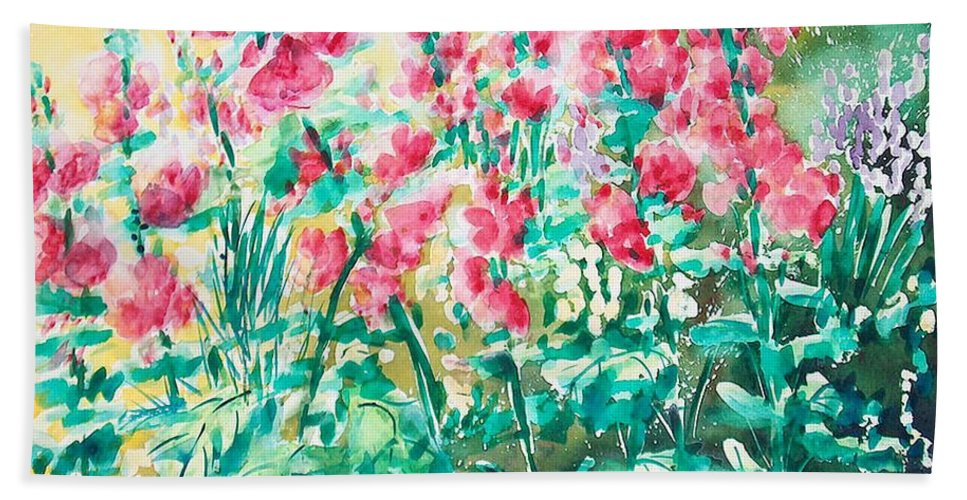 Flowers Beach Towel featuring the painting The Hollyhock Field by Judith Kerrigan Ribbens