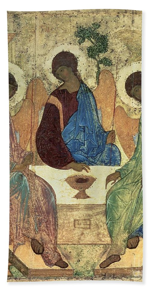 The Beach Towel featuring the painting The Holy Trinity by Andrei Rublev