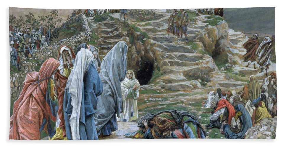 Tissot Beach Towel featuring the painting The Holy Women Stand Far Off Beholding What Is Done by James Jacques Joseph Tissot
