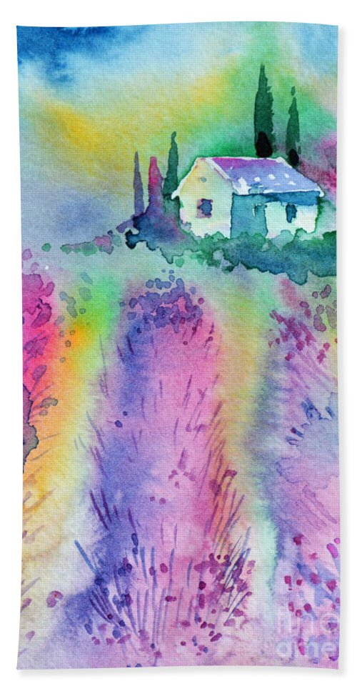 House Beach Towel featuring the painting The House By The Lavender Field by Zaira Dzhaubaeva