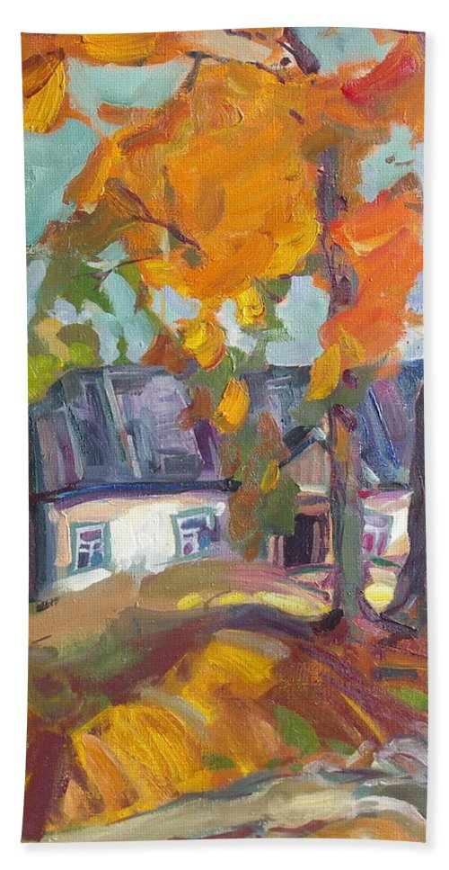 Oil Beach Towel featuring the painting The House In Chervonka Village by Sergey Ignatenko