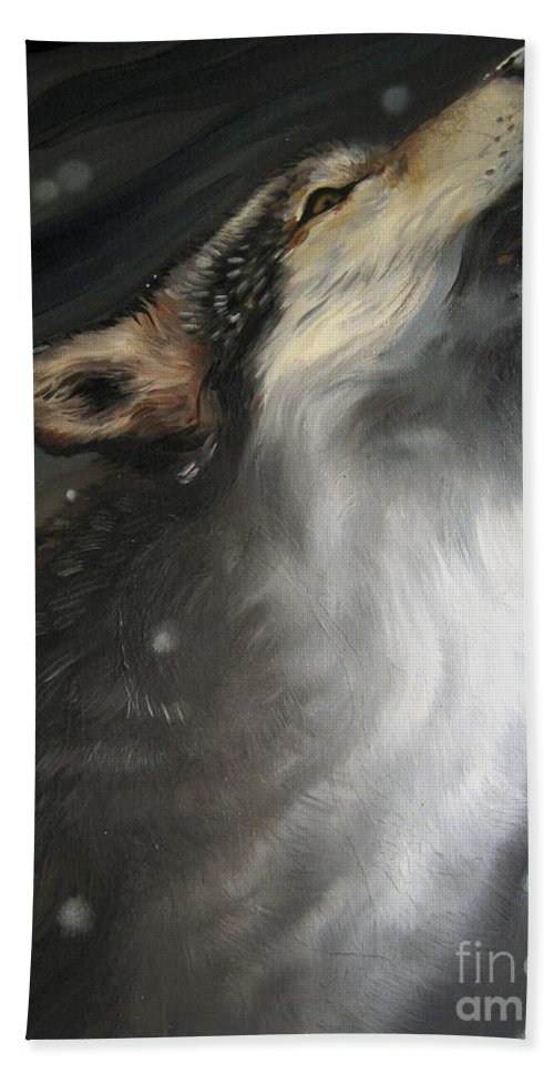 Howling Beach Towel featuring the painting The Howling by Ilaria Andreucci
