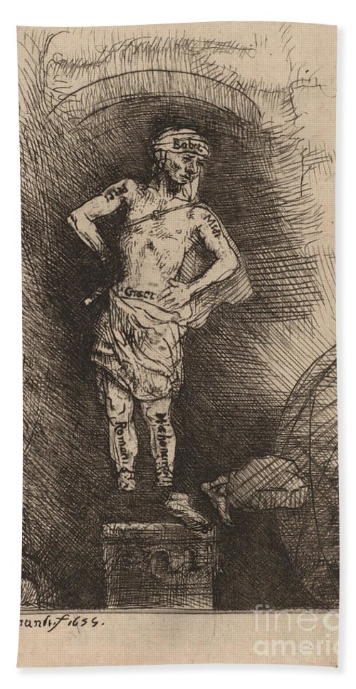 Beach Towel featuring the drawing The Image Seen By Nebuchadnezzar by Rembrandt Van Rijn