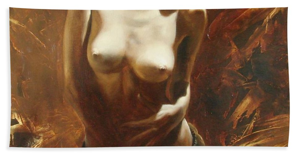 Oil Beach Sheet featuring the painting The Incinerating Passion by Sergey Ignatenko