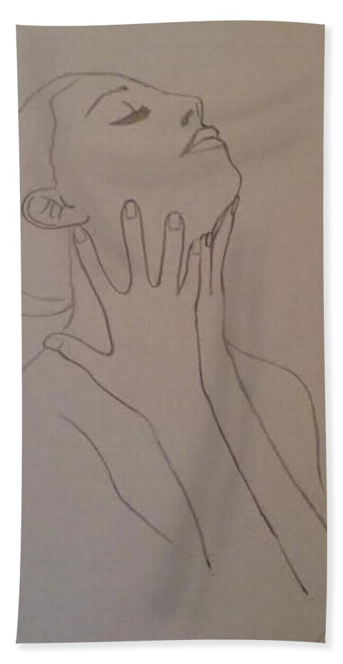 Humans Beach Towel featuring the drawing The Incomplete Beauty by Sheila Renee Parker