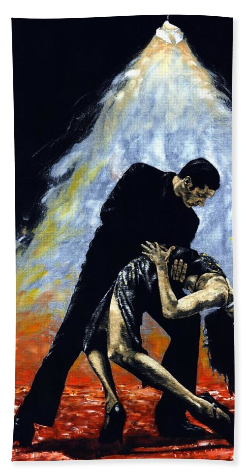 Tango Beach Towel featuring the painting The Intoxication Of Tango by Richard Young
