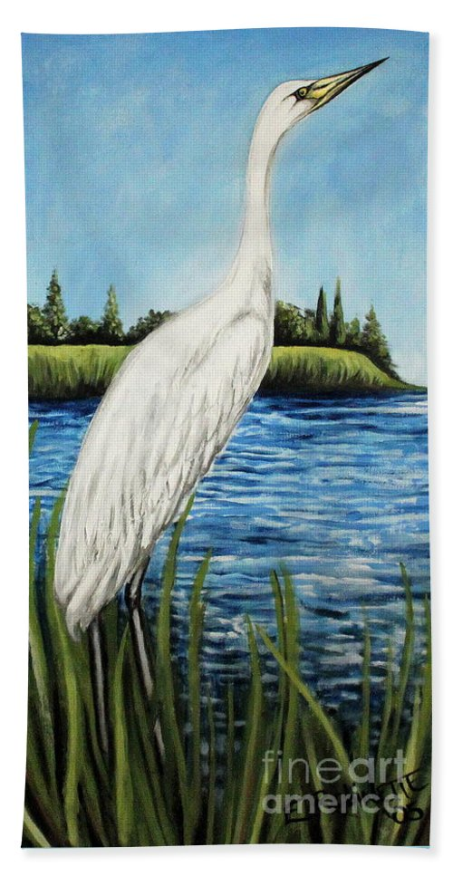Landscape Beach Towel featuring the painting The Island's Egret by Elizabeth Robinette Tyndall