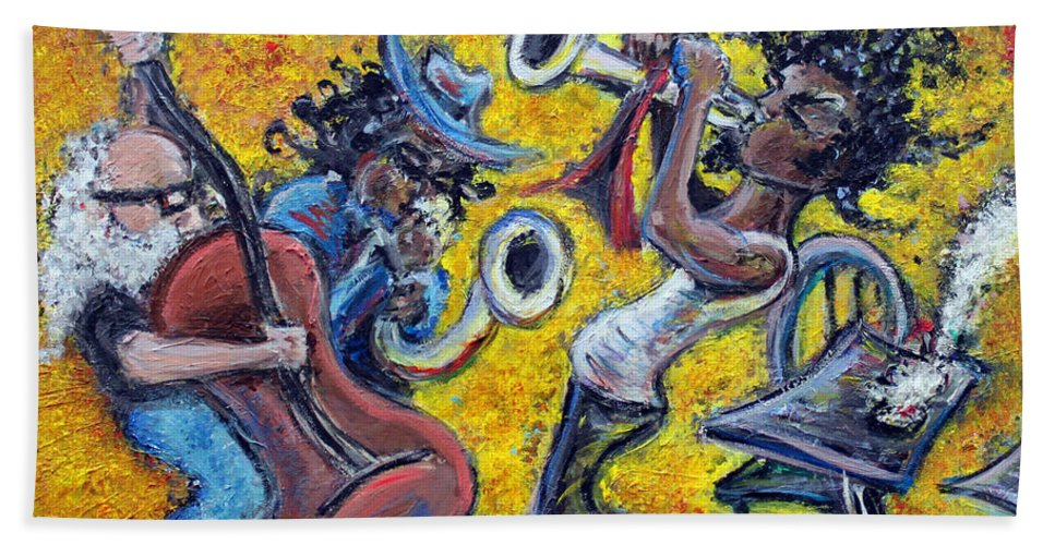 Jazz Music Art Black Musician Beach Towel featuring the painting The Jazz Trio by Jason Gluskin