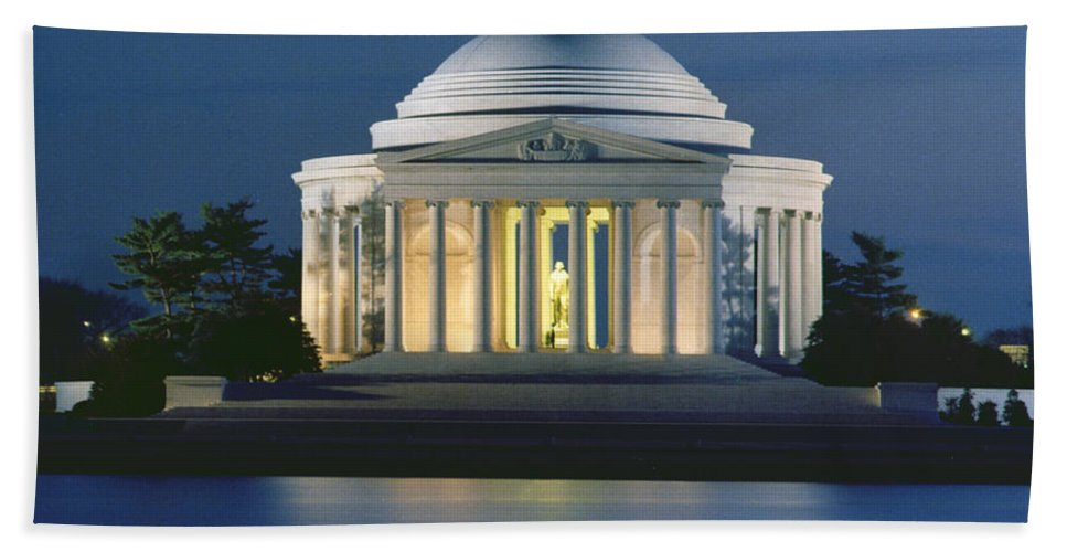 Monument; Saucer Dome; Portico; Columns; Architecture; Architectural; West Potomac Park; Evening; Dusk; Nighttime; Statue; River; Riverbank; Reflection; Nocturne; 3rd; American; Architecture; Neo-classical Beach Towel featuring the photograph The Jefferson Memorial by Peter Newark American Pictures