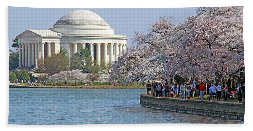 Jefferson Beach Towel featuring the photograph The Jefferson Memorial With Cherry Blossoms And A Lot Of People by Cora Wandel